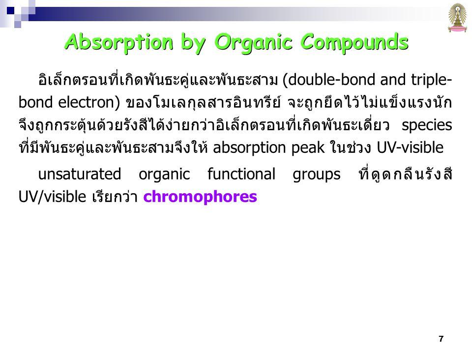 7 Absorption by Organic Compounds อิเล็กตรอนที่เกิดพันธะคู่และพันธะสาม (double-bond and triple- bond electron) ของโมเลกุลสารอินทรีย์ จะถูกยึดไว้ไม่แข็งแรงนัก จึงถูกกระตุ้นด้วยรังสีได้ง่ายกว่าอิเล็กตรอนที่เกิดพันธะเดี่ยว species ที่มีพันธะคู่และพันธะสามจึงให้ absorption peak ในช่วง UV-visible unsaturated organic functional groups ที่ดูดกลืนรังสี UV/visible เรียกว่า chromophores