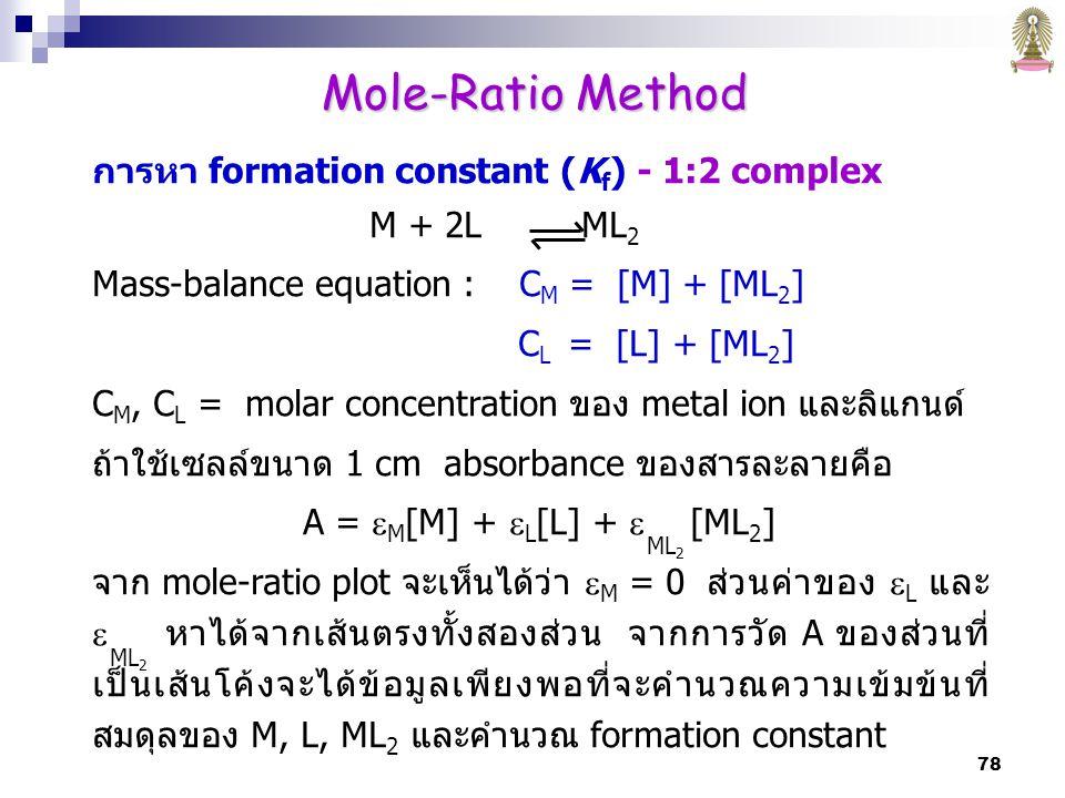 78 การหา formation constant (K f ) - 1:2 complex M + 2L ML 2 Mass-balance equation : C M = [M] + [ML 2 ] C L = [L] + [ML 2 ] C M, C L = molar concentration ของ metal ion และลิแกนด์ ถ้าใช้เซลล์ขนาด 1 cm absorbance ของสารละลายคือ A =  M [M] +  L [L] +  [ML 2 ] จาก mole-ratio plot จะเห็นได้ว่า  M = 0 ส่วนค่าของ  L และ  หาได้จากเส้นตรงทั้งสองส่วน จากการวัด A ของส่วนที่ เป็นเส้นโค้งจะได้ข้อมูลเพียงพอที่จะคำนวณความเข้มข้นที่ สมดุลของ M, L, ML 2 และคำนวณ formation constant ML 2 Mole-Ratio Method