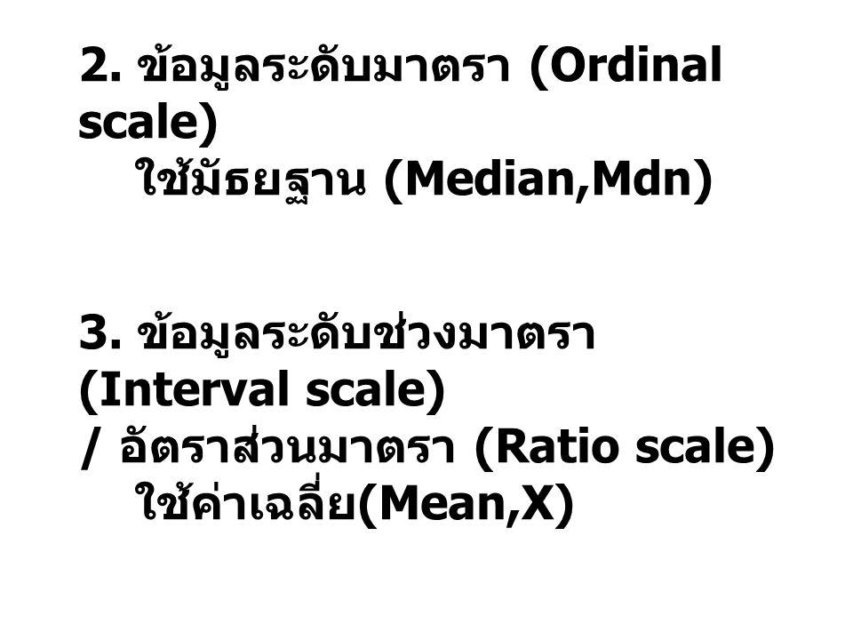 2. ข้อมูลระดับมาตรา (Ordinal scale) ใช้มัธยฐาน (Median,Mdn) 3. ข้อมูลระดับช่วงมาตรา (Interval scale) / อัตราส่วนมาตรา (Ratio scale) ใช้ค่าเฉลี่ย (Mean