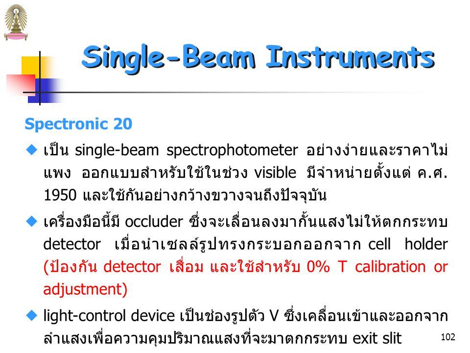 101 Single-Beam Spectrophotometers รูปที่ 25 Spectronic 20 spectrophotometer.