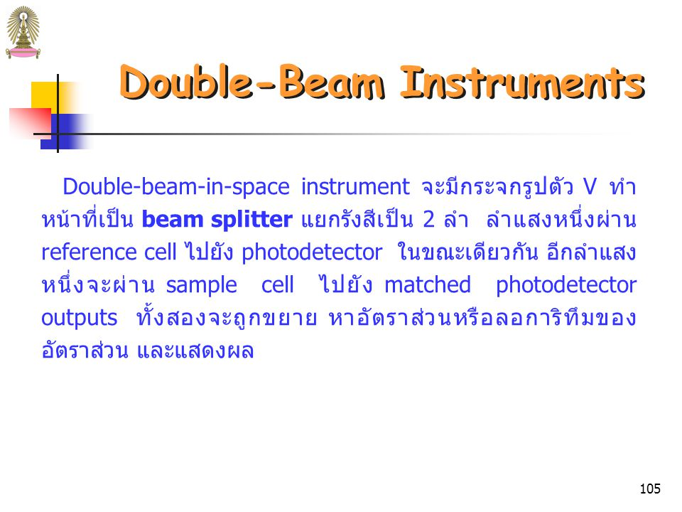 104 Double-Beam Instruments รูปที่ 26 Instrument designs for photometers and spectrophotometers: (b) double-beam-in-space instrument.