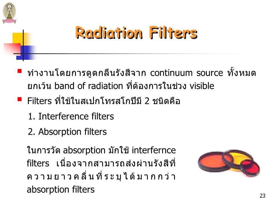 ตารางที่ 3 Wavelength Selectors for Spectroscopy ชนิดช่วงความยาวคลื่น (nm) หมายเหตุ ต่อเนื่อง Grating Monochromator100 – 40,0003000 lines/mm สำหรับ vacuum UV 50 lines/mm สำหรับ far IR Prism Monochromator120 – 30,000 ไม่ต่อเนื่อง Interference Filter200 – 14,000 Absorption Filter 380 – 750