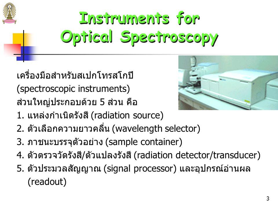 2 Instruments for Optical Spectroscopy Instruments for Optical Spectroscopy ส่วนประกอบพื้นฐานของเครื่องมือวิเคราะห์สำหรับ emission, absorption และ fluorescence spectroscopy เหมือนกัน ไม่ว่าจะ เป็นเครื่องมือที่ใช้กับ UV, visible หรือ IR radiation จึงมัก เรียกว่า optical instrument แม้ว่าจะใช้สำหรับช่วงสเปกตรัมที่ตา มองไม่เห็น