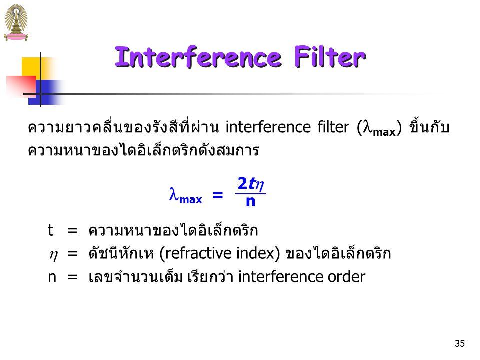 34 Interference Filter เมื่อลำแสงขนานตกกระทบ interference filter โดยทำมุม  กับ เส้นตั้งฉากที่จุด 1 ของชั้นโลหะชั้นแรก รังสีบางส่วนจะสะท้อนกลับ และบางส่วนจะผ่านไปยังชั้นโลหะชั้นที่ 2 ส่วนที่ผ่านไปนี้ เมื่อชน โลหะชั้นที่ 2 ที่จุด 1 จะแยกเป็น 2 ส่วนเช่นเดียวกัน รังสีที่สะท้อนกลับจากชั้นโลหะชั้นที่ 2 บางความยาวคลื่นจะ สะท้อนที่ด้านในของชั้นโลหะชั้นที่ 1 และร่วมเฟสกับรังสีที่เข้ามา ใหม่ซึ่งมีความยาวคลื่นเท่ากัน ทำให้เกิดการแทรกสอดเสริม (constructive interference) และผ่าน filter ไปได้ ในขณะที่ความ ยาวคลื่นอื่นซึ่งต่างเฟสกัน เกิดการแทรกสอดทำลาย (destructive interference)
