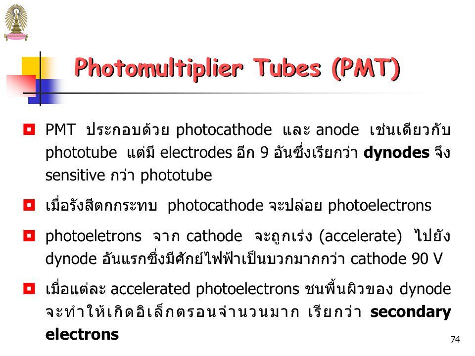 73 (a) Quartz envelope Anode Grill Photoemissive cathode Dynodes (1-9) ~ 10 7 electrons for each photon Radiation, h Photomultiplier Tubes (PMT) รูปที่ 17 Diagram of PMT.