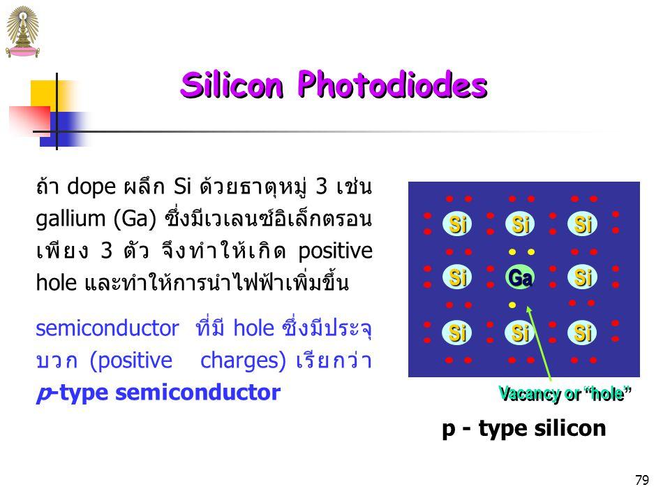 78 Silicon Photodiodes ถ้า dope ผลึก Si ด้วยธาตุหมู่ 5 เช่น arsenic (As) เวเลนซ์อิเล็กตรอน 4 ตัวของ As จะเกิดพันธะกับ Si อะตอม อื่น และเหลือเวเลนซ์อิเล็กตรอนอีก 1 ตัวเคลื่อนที่ได้อิสระ ทำให้การนำไฟฟ้า เพิ่มขึ้น semiconductor ที่มีอิเล็กตรอนอิสระ ซึ่งมีประจุลบ (negative charges) เรียกว่า n-type semiconductor n - type silicon SiSiSi AsSiSi SiSiSi Extra electron