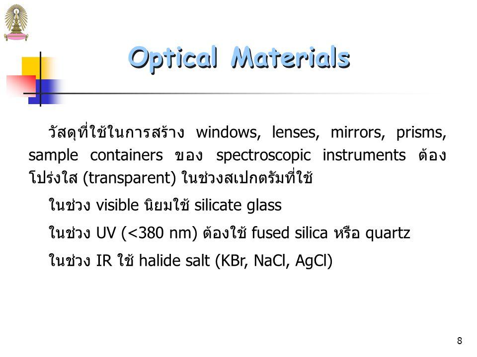 7 Instruments for Optical Spectroscopy Instruments for Optical Spectroscopy เครื่องมือสำหรับวัด emission ไม่ต้องใช้ radiation source ตัวอย่างจะถูกป้อนเข้าสู่ plasma, flame หรือ heated surface ซึ่ง ให้พลังงาน ทำให้ analyte ในตัวอย่างเปล่งรังสี จากนั้นตรวจวัด รังสีที่เปล่งออกมา ประมวลสัญญาณและอ่านผล Source & Sample Container Emission spectrometer Detector Wavelength Selector Signal Processor and Readout