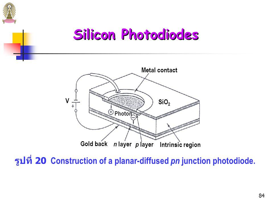 83 Silicon Photodiodes เมื่อต่อ silicon diode แบบ reverse bias (ต่อขั้วลบของ dc source กับ p region และขั้วบวกกับ n region) จะไม่นำไฟฟ้า เนื่องจากอิเล็กตรอนอิสระใน n region และ positive holes ใน p region จะเคลื่อนที่ออกจาก junction ทำให้เกิด depletion layer ซึ่งไม่นำไฟฟ้า (มีการนำไฟฟ้าเพียง 10 -6 หรือ 10 -8 เท่า ของการนำไฟฟ้าภายใต้ forward bias) silicon diode จึงทำหน้าที่เป็น ตัวทำกระแสตรง (current rectifier)