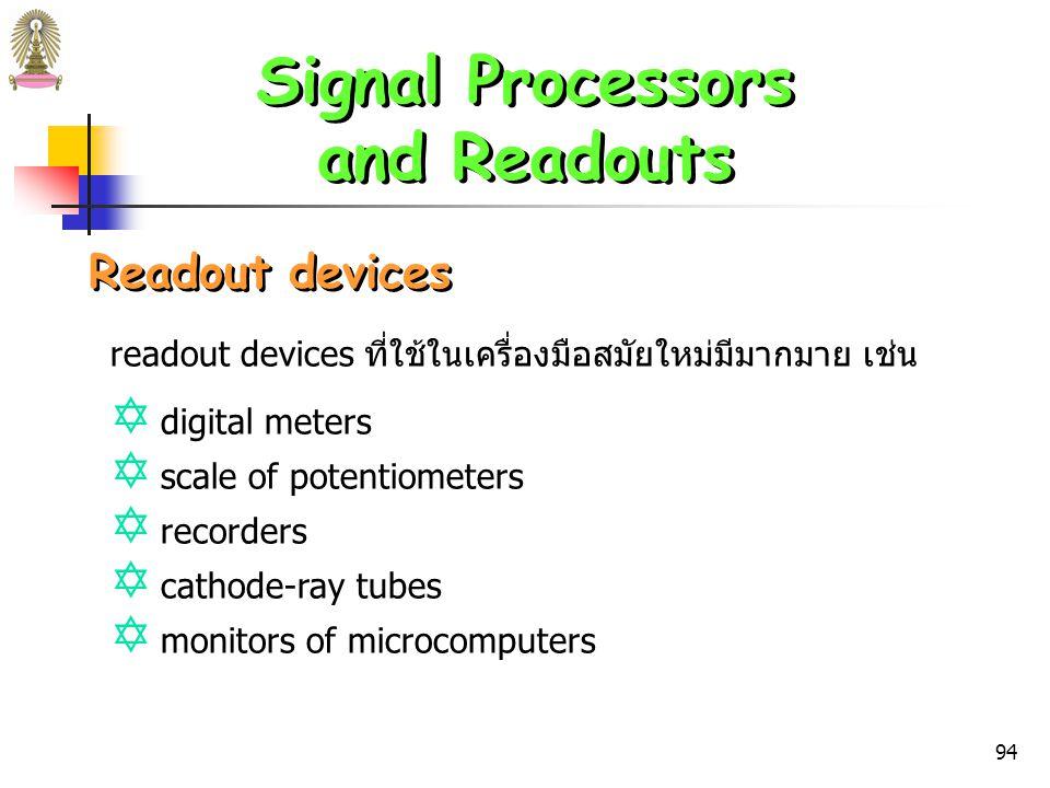 93 Signal Processors and Readouts Signal Processors and Readouts Signal Processors เป็นอุปกรณ์อิเล็กทรอนิกที่ Y ขยายสัญญาณไฟฟ้าจาก detector Y เปลี่ยนสัญญาณจาก dc  ac Y เปลี่ยนเฟส (phase) ของสัญญาณ Y กรองสัญญาณเพื่อกำจัดส่วนที่ไม่ต้องการ Y ดำเนินการทางคณิตศาสตร์ต่อสัญญาณ เช่น หาปริพันธ์ (integrate) หาอนุพันธ์ (differentiate) เปลี่ยนเป็น ลอการิทึม ฯลฯ