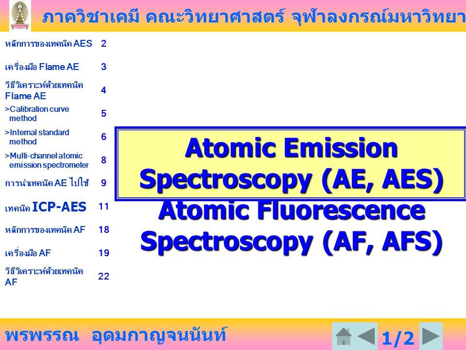 ภาควิชาเคมี คณะวิทยาศาสตร์ จุฬาลงกรณ์มหาวิทยาลัย พรพรรณ อุดมกาญจนนันท์ หลักการของเทคนิค AES2 เครื่องมือ Flame AE3 วิธีวิเคราะห์ด้วยเทคนิค Flame AE 4 >Calibration curve method 5 >Internal standard method 6 >Multi-channel atomic emission spectrometer 8 การนำเทคนิค AE ไปใช้9 เทคนิค ICP-AES 11 หลักการของเทคนิค AF18 เครื่องมือ AF19 วิธีวิเคราะห์ด้วยเทคนิค AF 22 1/2 3 Atomic Emission Spectroscopy (AE, AES) Atomic Fluorescence Spectroscopy (AF, AFS)