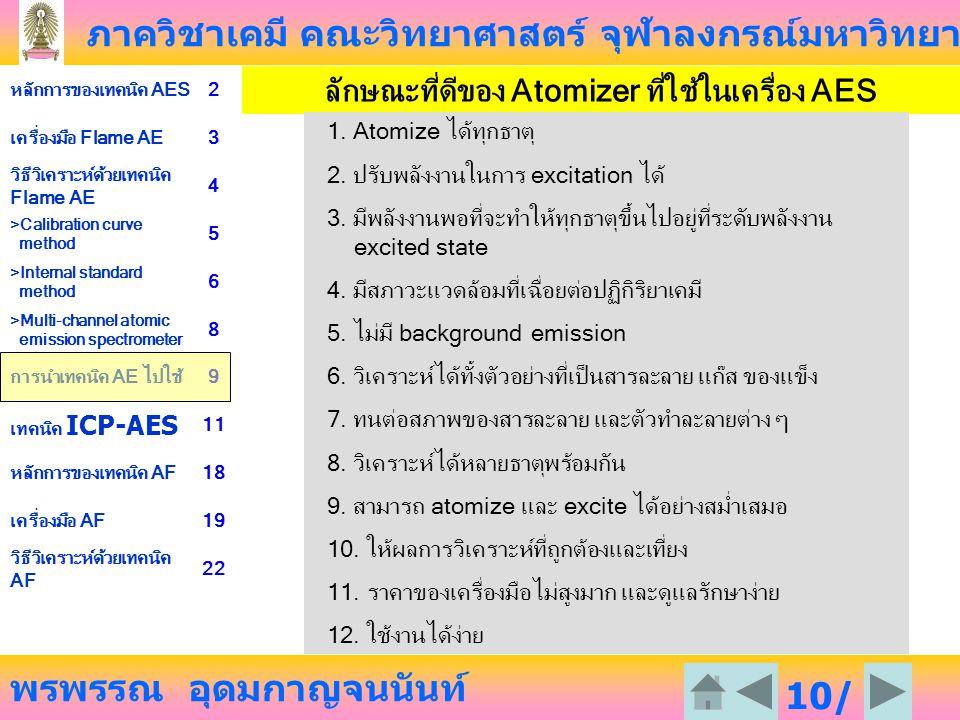 ภาควิชาเคมี คณะวิทยาศาสตร์ จุฬาลงกรณ์มหาวิทยาลัย พรพรรณ อุดมกาญจนนันท์ หลักการของเทคนิค AES2 เครื่องมือ Flame AE3 วิธีวิเคราะห์ด้วยเทคนิค Flame AE 4 >Calibration curve method 5 >Internal standard method 6 >Multi-channel atomic emission spectrometer 8 การนำเทคนิค AE ไปใช้9 เทคนิค ICP-AES 11 หลักการของเทคนิค AF18 เครื่องมือ AF19 วิธีวิเคราะห์ด้วยเทคนิค AF 22 10/ 23 ลักษณะที่ดีของ Atomizer ที่ใช้ในเครื่อง AES 1.