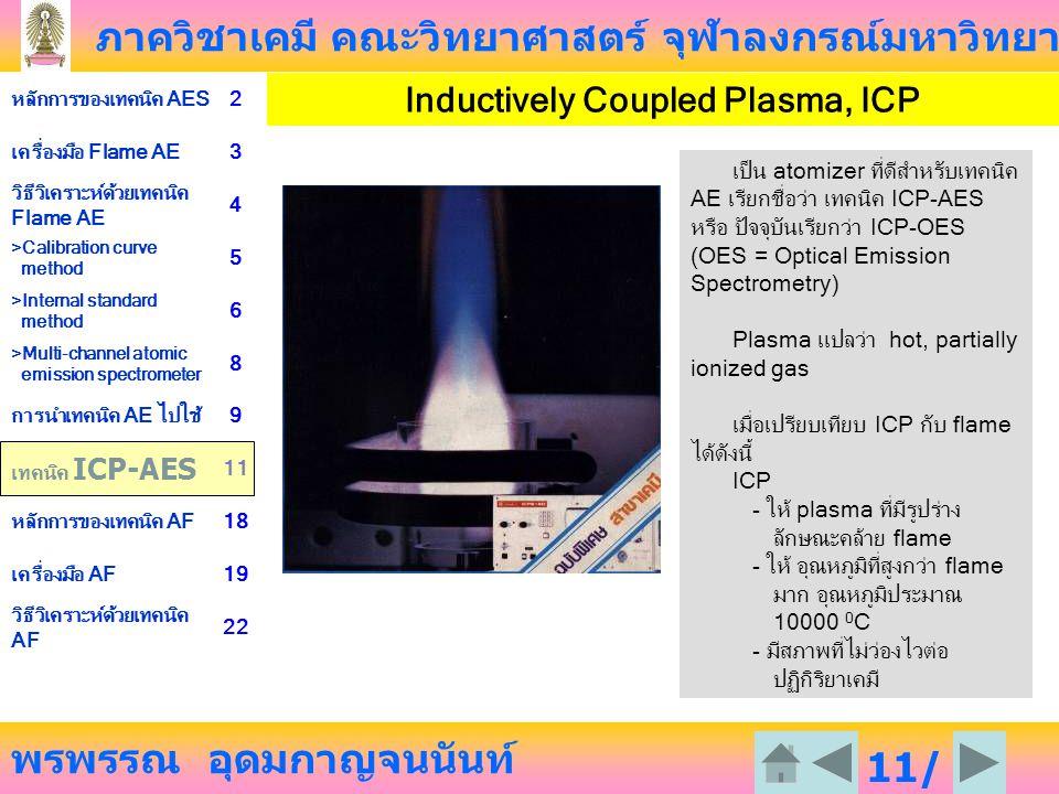 ภาควิชาเคมี คณะวิทยาศาสตร์ จุฬาลงกรณ์มหาวิทยาลัย พรพรรณ อุดมกาญจนนันท์ หลักการของเทคนิค AES2 เครื่องมือ Flame AE3 วิธีวิเคราะห์ด้วยเทคนิค Flame AE 4 >Calibration curve method 5 >Internal standard method 6 >Multi-channel atomic emission spectrometer 8 การนำเทคนิค AE ไปใช้9 เทคนิค ICP-AES 11 หลักการของเทคนิค AF18 เครื่องมือ AF19 วิธีวิเคราะห์ด้วยเทคนิค AF 22 11/ 23 Inductively Coupled Plasma, ICP เป็น atomizer ที่ดีสำหรับเทคนิค AE เรียกชื่อว่า เทคนิค ICP-AES หรือ ปัจจุบันเรียกว่า ICP-OES (OES = Optical Emission Spectrometry) Plasma แปลว่า hot, partially ionized gas เมื่อเปรียบเทียบ ICP กับ flame ได้ดังนี้ ICP - ให้ plasma ที่มีรูปร่าง ลักษณะคล้าย flame - ให้ อุณหภูมิที่สูงกว่า flame มาก อุณหภูมิประมาณ 10000 0 C - มีสภาพที่ไม่ว่องไวต่อ ปฏิกิริยาเคมี