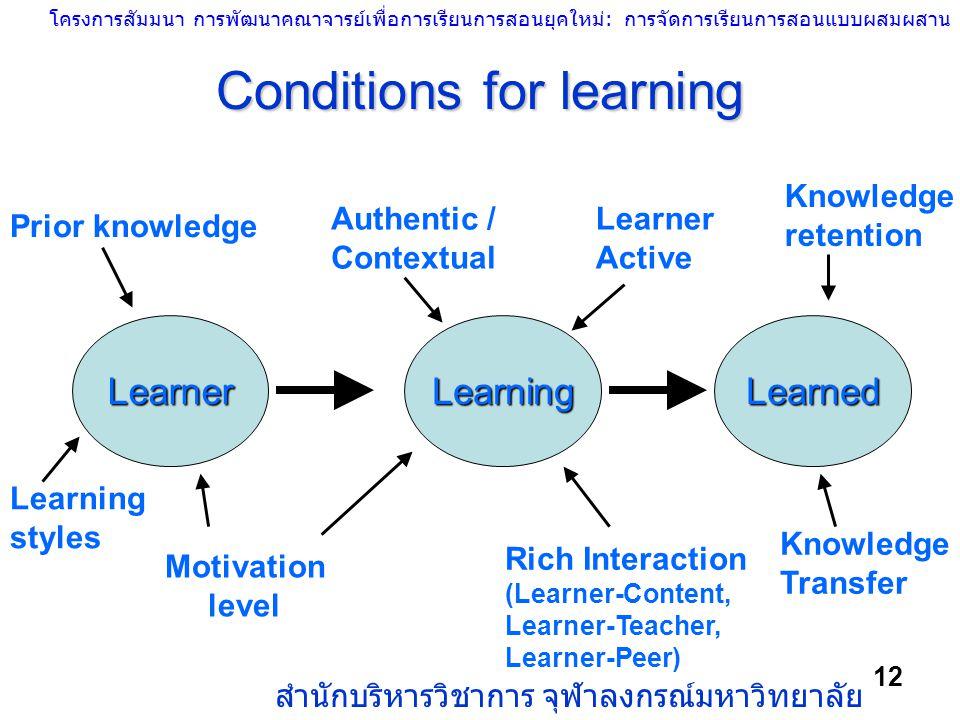 โครงการสัมมนา การพัฒนาคณาจารย์เพื่อการเรียนการสอนยุคใหม่: การจัดการเรียนการสอนแบบผสมผสาน สำนักบริหารวิชาการ จุฬาลงกรณ์มหาวิทยาลัย 12 LearnerLearningLe