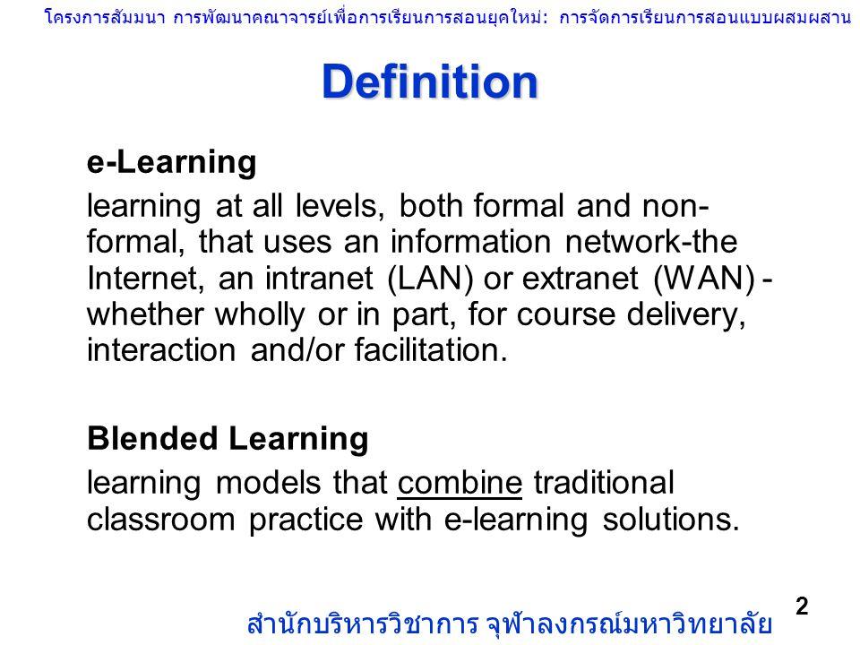 โครงการสัมมนา การพัฒนาคณาจารย์เพื่อการเรียนการสอนยุคใหม่: การจัดการเรียนการสอนแบบผสมผสาน สำนักบริหารวิชาการ จุฬาลงกรณ์มหาวิทยาลัย 2 Definition e-Learn