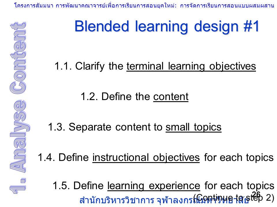 โครงการสัมมนา การพัฒนาคณาจารย์เพื่อการเรียนการสอนยุคใหม่: การจัดการเรียนการสอนแบบผสมผสาน สำนักบริหารวิชาการ จุฬาลงกรณ์มหาวิทยาลัย 26 Blended learning
