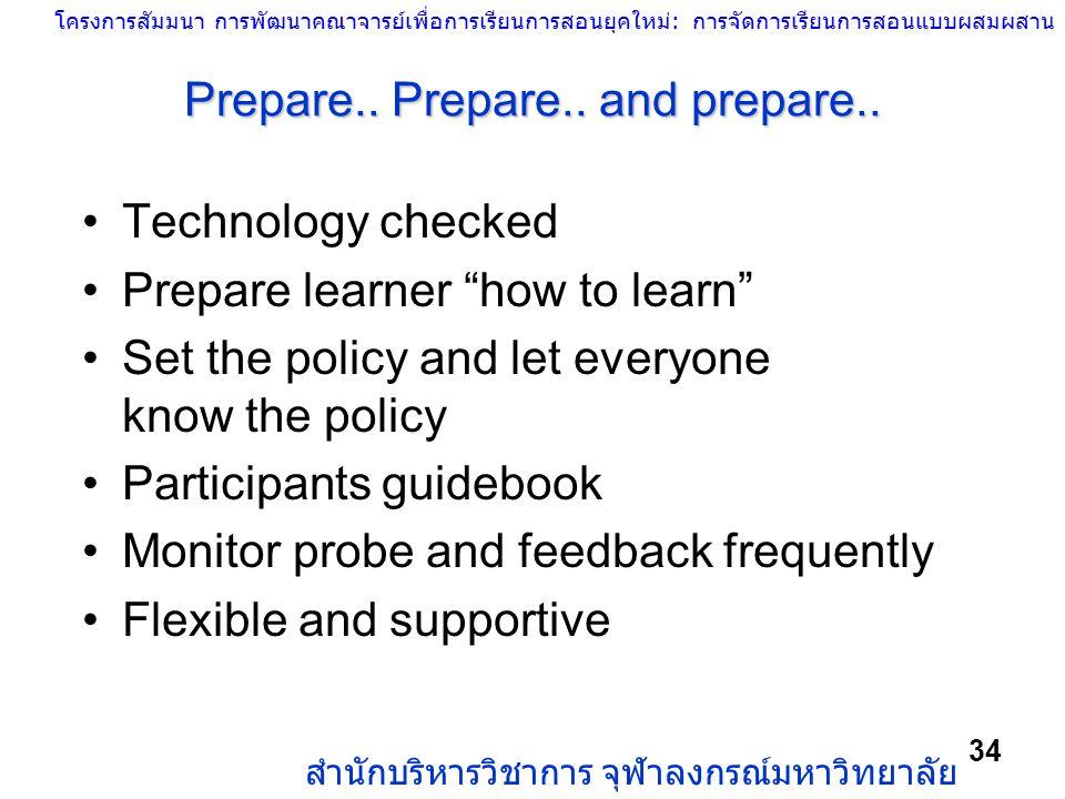 โครงการสัมมนา การพัฒนาคณาจารย์เพื่อการเรียนการสอนยุคใหม่: การจัดการเรียนการสอนแบบผสมผสาน สำนักบริหารวิชาการ จุฬาลงกรณ์มหาวิทยาลัย 34 Prepare.. Prepare