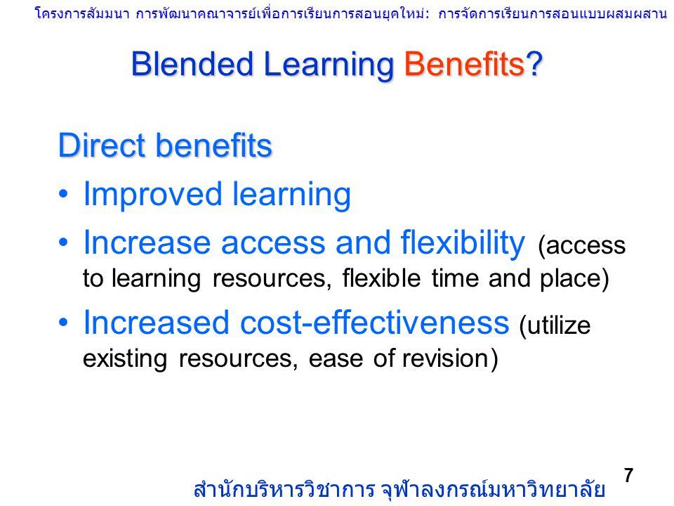 โครงการสัมมนา การพัฒนาคณาจารย์เพื่อการเรียนการสอนยุคใหม่: การจัดการเรียนการสอนแบบผสมผสาน สำนักบริหารวิชาการ จุฬาลงกรณ์มหาวิทยาลัย 7 Blended Learning B