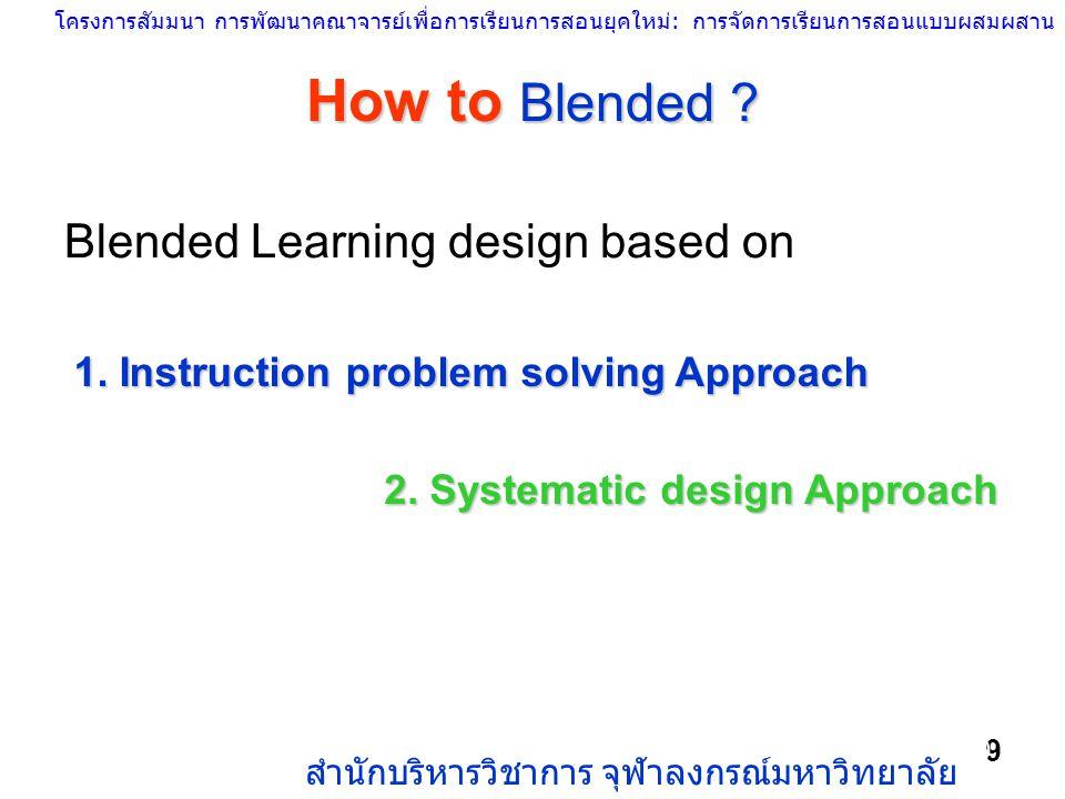 โครงการสัมมนา การพัฒนาคณาจารย์เพื่อการเรียนการสอนยุคใหม่: การจัดการเรียนการสอนแบบผสมผสาน สำนักบริหารวิชาการ จุฬาลงกรณ์มหาวิทยาลัย 9 How to Blended ? G