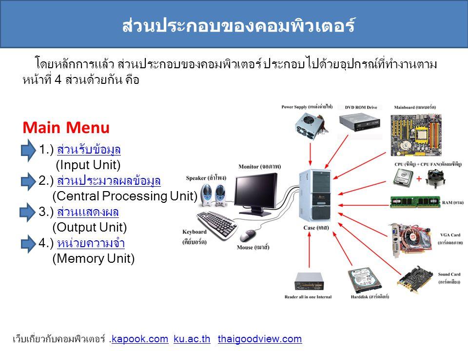 ส่วนประกอบของคอมพิวเตอร์ โดยหลักการแล้ว ส่วนประกอบของคอมพิวเตอร์ ประกอบไปด้วยอุปกรณ์ที่ทำงานตาม หน้าที่ 4 ส่วนด้วยกัน คือ 1.) ส่วนรับข้อมูลส่วนรับข้อม