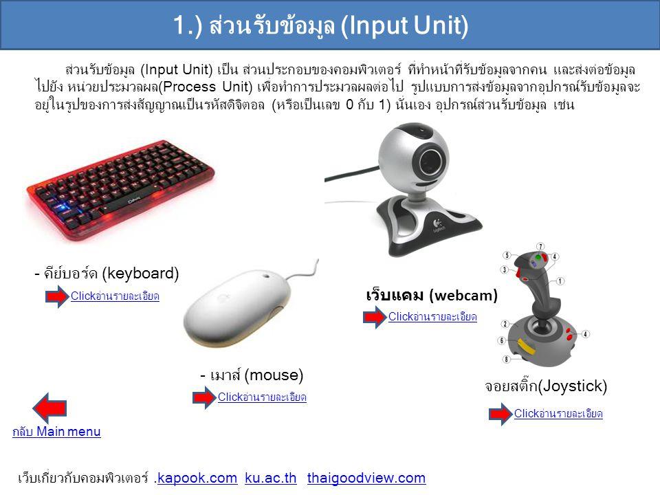 1.) ส่วนรับข้อมูล (Input Unit) ส่วนรับข้อมูล (Input Unit) เป็น ส่วนประกอบของคอมพิวเตอร์ ที่ทำหน้าที่รับข้อมูลจากคน และส่งต่อข้อมูล ไปยัง หน่วยประมวลผล