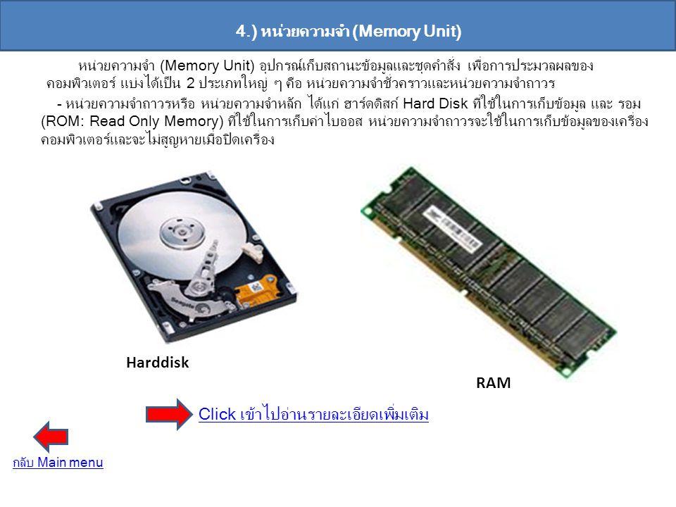 4.) หน่วยความจำ (Memory Unit) หน่วยความจำ (Memory Unit) อุปกรณ์เก็บสถานะข้อมูลและชุดคำสั่ง เพื่อการประมวลผลของ คอมพิวเตอร์ แบ่งได้เป็น 2 ประเภทใหญ่ ๆ