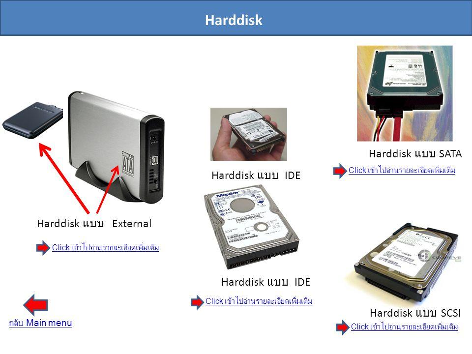 Harddisk แบบ SATA Harddisk แบบ SCSI Harddisk แบบ IDE Harddisk แบบ External Harddisk Click เข้าไปอ่านรายละเอียดเพิ่มเติม Click เข้าไปอ่านรายละเอียดเพิ่