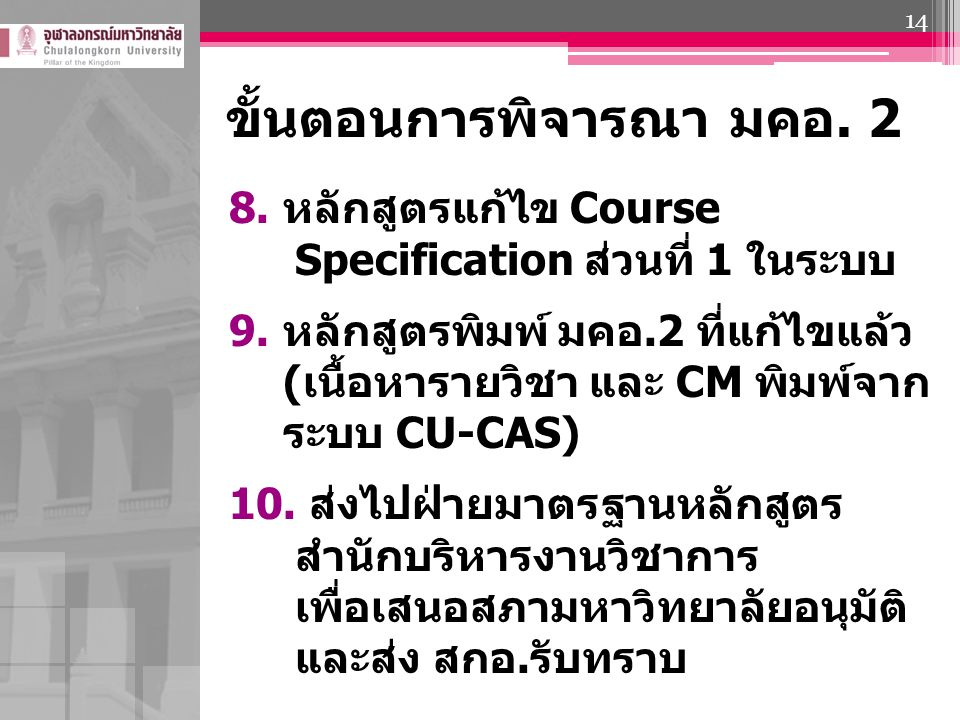 ขั้นตอนการพิจารณา มคอ. 2 8.หลักสูตรแก้ไข Course Specification ส่วนที่ 1 ในระบบ 9.หลักสูตรพิมพ์ มคอ.2 ที่แก้ไขแล้ว (เนื้อหารายวิชา และ CM พิมพ์จาก ระบบ