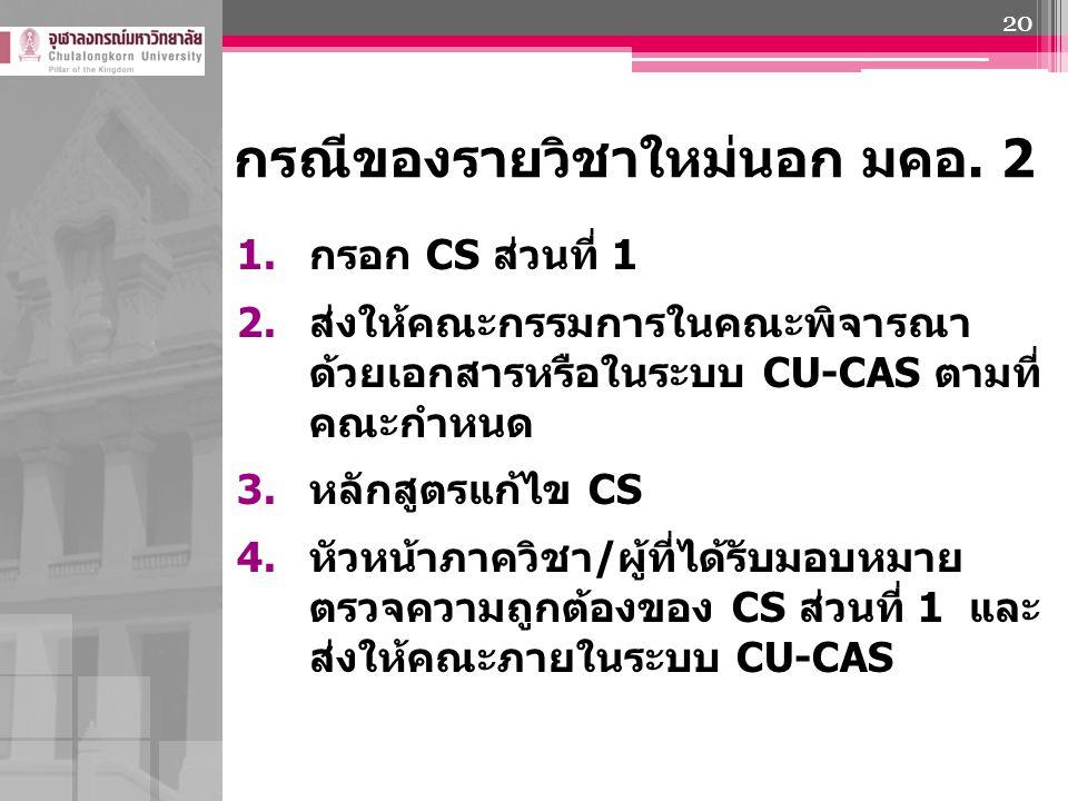 กรณีของรายวิชาใหม่นอก มคอ. 2 1. กรอก CS ส่วนที่ 1 2. ส่งให้คณะกรรมการในคณะพิจารณา ด้วยเอกสารหรือในระบบ CU-CAS ตามที่ คณะกำหนด 3. หลักสูตรแก้ไข CS 4. ห
