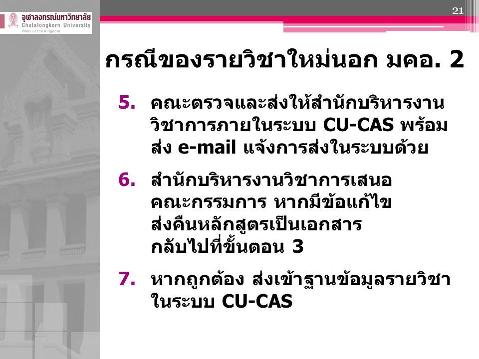 5. คณะตรวจและส่งให้สำนักบริหารงาน วิชาการภายในระบบ CU-CAS พร้อม ส่ง e-mail แจ้งการส่งในระบบด้วย 6. สำนักบริหารงานวิชาการเสนอ คณะกรรมการ หากมีข้อแก้ไข