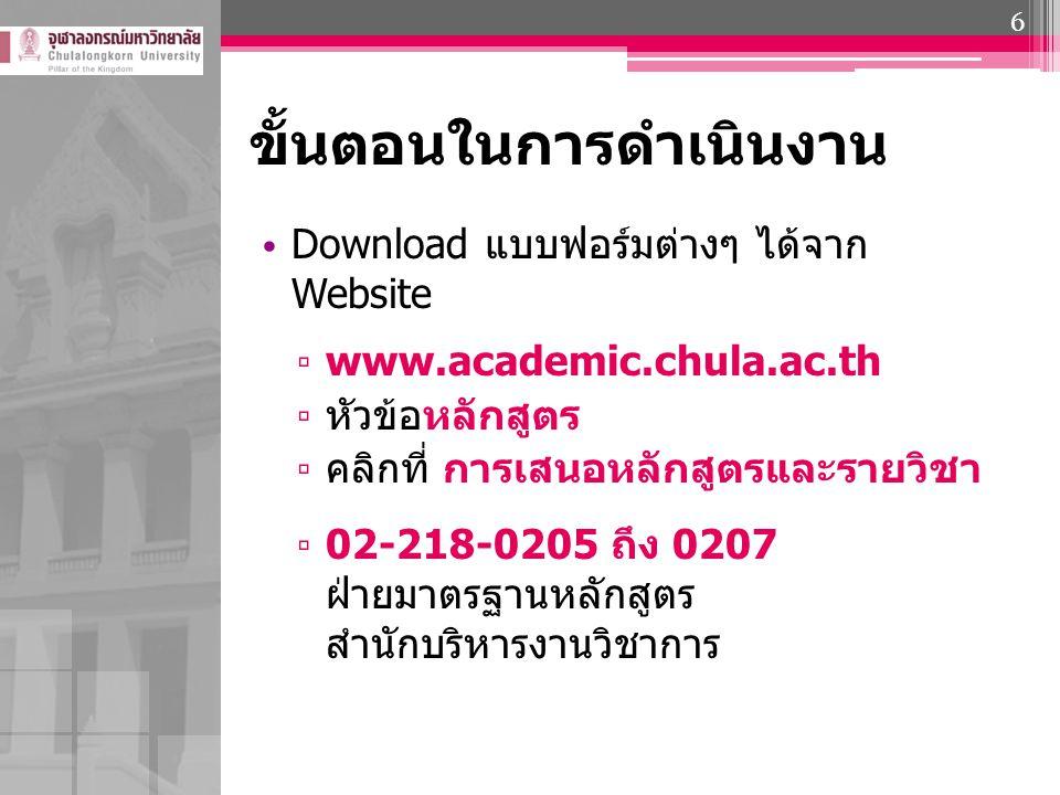 ขั้นตอนในการดำเนินงาน Download แบบฟอร์มต่างๆ ได้จาก Website ▫ www.academic.chula.ac.th ▫ หัวข้อหลักสูตร ▫ คลิกที่ การเสนอหลักสูตรและรายวิชา ▫ 02-218-0