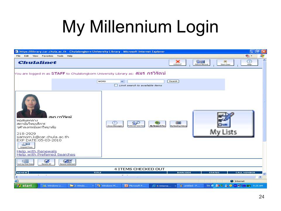 24 My Millennium Login