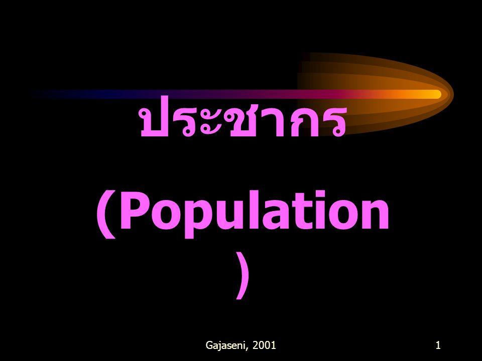 Gajaseni, 20012 คำจำกัดความ กลุ่มของสิ่งมีชีวิตชนิด เดียวกันในพื้นที่ใดพื้นที่หนึ่ง ในมาตราของเวลาหนึ่งๆ