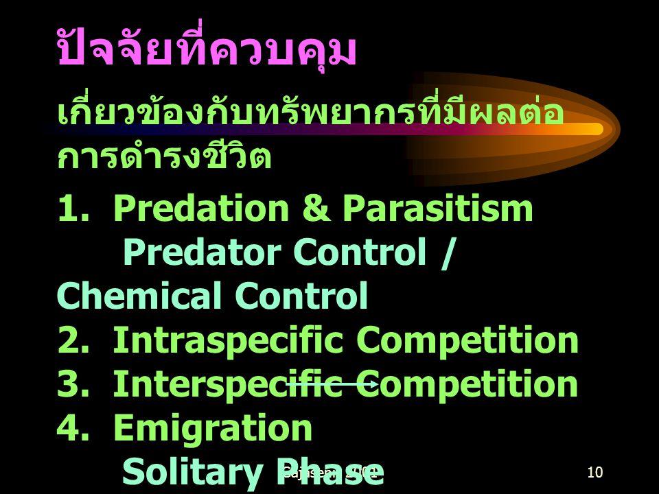 Gajaseni, 200110 ปัจจัยที่ควบคุม เกี่ยวข้องกับทรัพยากรที่มีผลต่อ การดำรงชีวิต 1. Predation & Parasitism Predator Control / Chemical Control 2. Intrasp