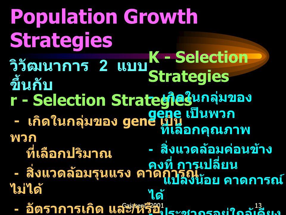 Gajaseni, 200113 Population Growth Strategies วิวัฒนาการ 2 แบบ ขึ้นกับ r - Selection Strategies - เกิดในกลุ่มของ gene เป็น พวก ที่เลือกปริมาณ - สิ่งแวดล้อมรุนแรง คาดการณ์ ไม่ได้ - อัตราการเกิด และ / หรือ การสืบพันธุ์สูง - ถูกควบคุมด้วยปัจจัยที่ไม่ ขึ้นกับ ความหนาแน่น K - Selection Strategies - เกิดในกลุ่มของ gene เป็นพวก ที่เลือกคุณภาพ - สิ่งแวดล้อมค่อนข้าง คงที่ การเปลี่ยน แปลงน้อย คาดการณ์ ได้ - ประชากรอยู่ใกล้เคียง กับ Carrying capacity - อัตราการเกิด และ / หรือ การสืบพันธุ์ต่ำ