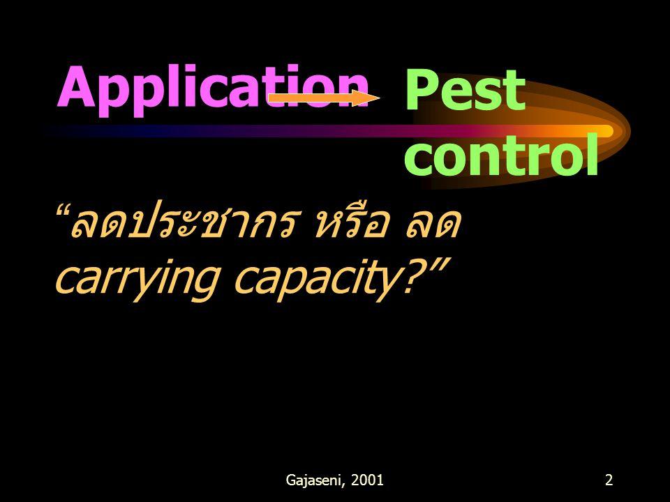 "Gajaseni, 20012 Application Pest control "" ลดประชากร หรือ ลด carrying capacity?"""