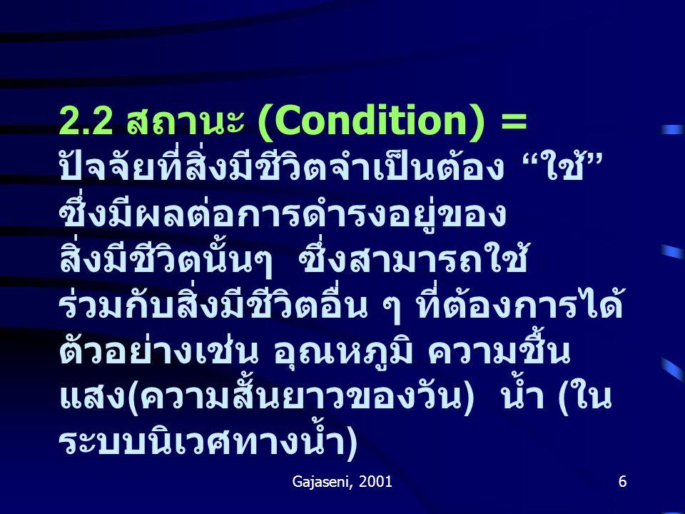 Gajaseni, 20016 2.2 สถานะ (Condition) = ปัจจัยที่สิ่งมีชีวิตจำเป็นต้อง ใช้ ซึ่งมีผลต่อการดำรงอยู่ของ สิ่งมีชีวิตนั้นๆ ซึ่งสามารถใช้ ร่วมกับสิ่งมีชีวิตอื่น ๆ ที่ต้องการได้ ตัวอย่างเช่น อุณหภูมิ ความชื้น แสง ( ความสั้นยาวของวัน ) น้ำ ( ใน ระบบนิเวศทางน้ำ )