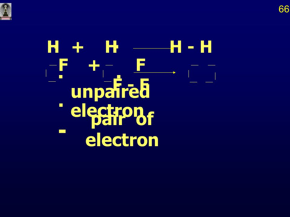 unpaired electron... H+ HH - H F+ F F - F.. - pair of electron 66
