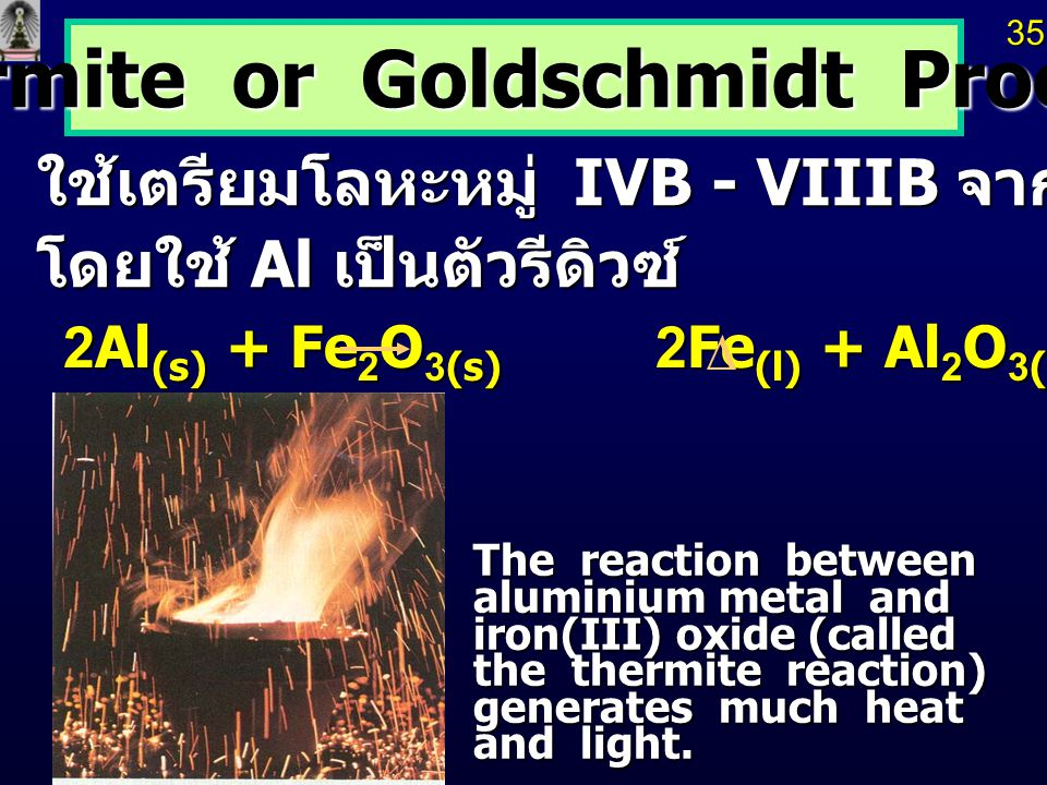 The reaction between aluminium metal and iron(III) oxide (called the thermite reaction) generates much heat and light.