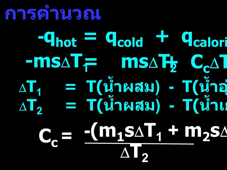 การคำนวณ -q hot =q cold + q calorimeter -ms  T 1 Cc=Cc= -(m 1 s  T 1 + m 2 s  T 2 ) T2T2  T 1 = T( น้ำผสม ) - T( น้ำอุ่น ) < 0  T 2 = T( น้ำผสม