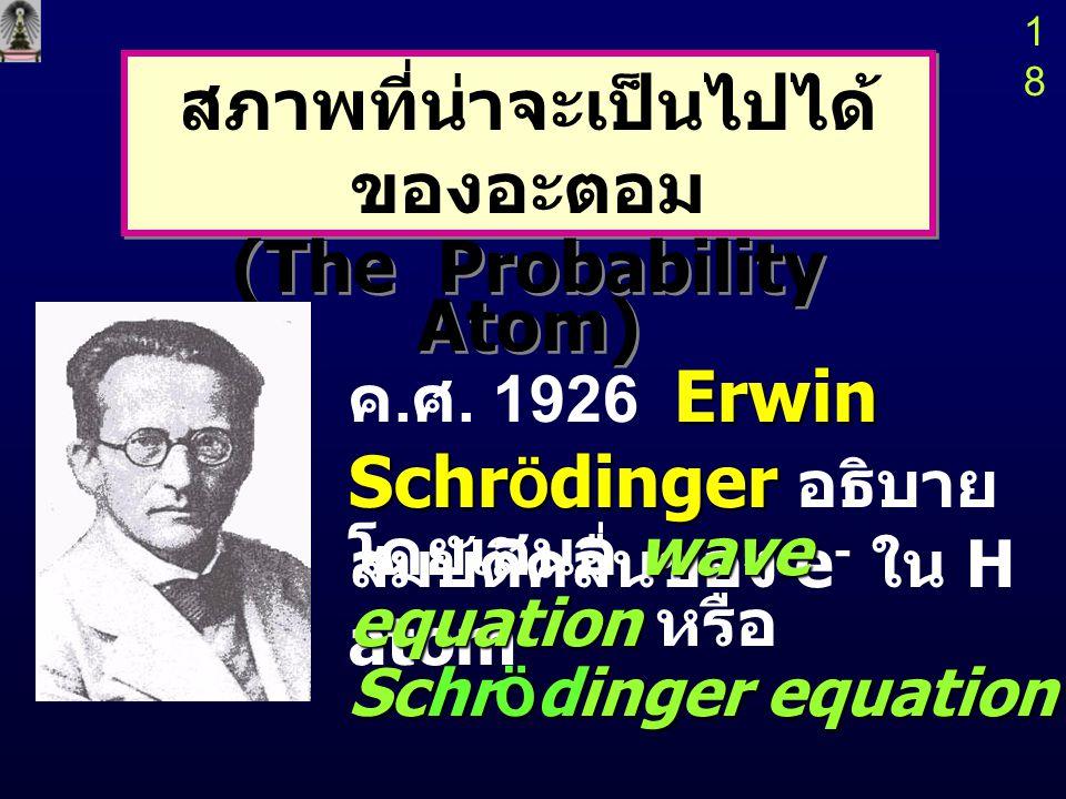 17 ดังนั้นแบบจำลองของโบร์ที่ว่า e - จะ เคลื่อนที่อยู่ ในวงโคจรโดยมีโมเมนตัมคงที่ จึง ไม่ถูกต้อง  Max Born เสนอว่า ถ้าเลือกที่จะ ทราบพลังงานของ e - ใน