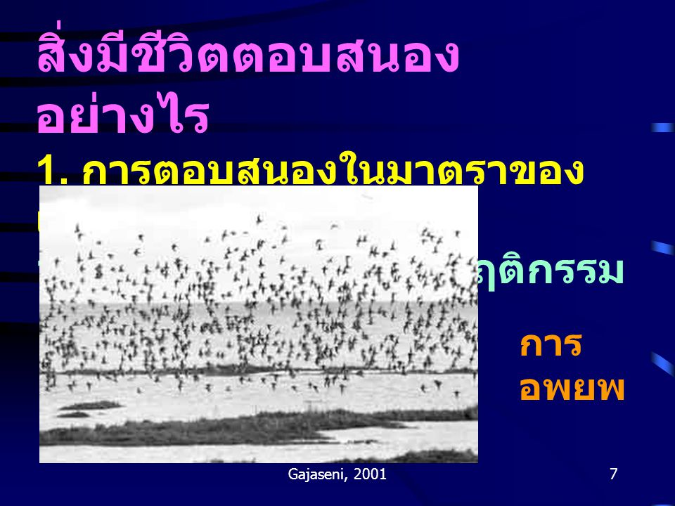 Gajaseni, 20018 1.2 การตอบสนองทางสรีระ Tolerance curves and acclimation