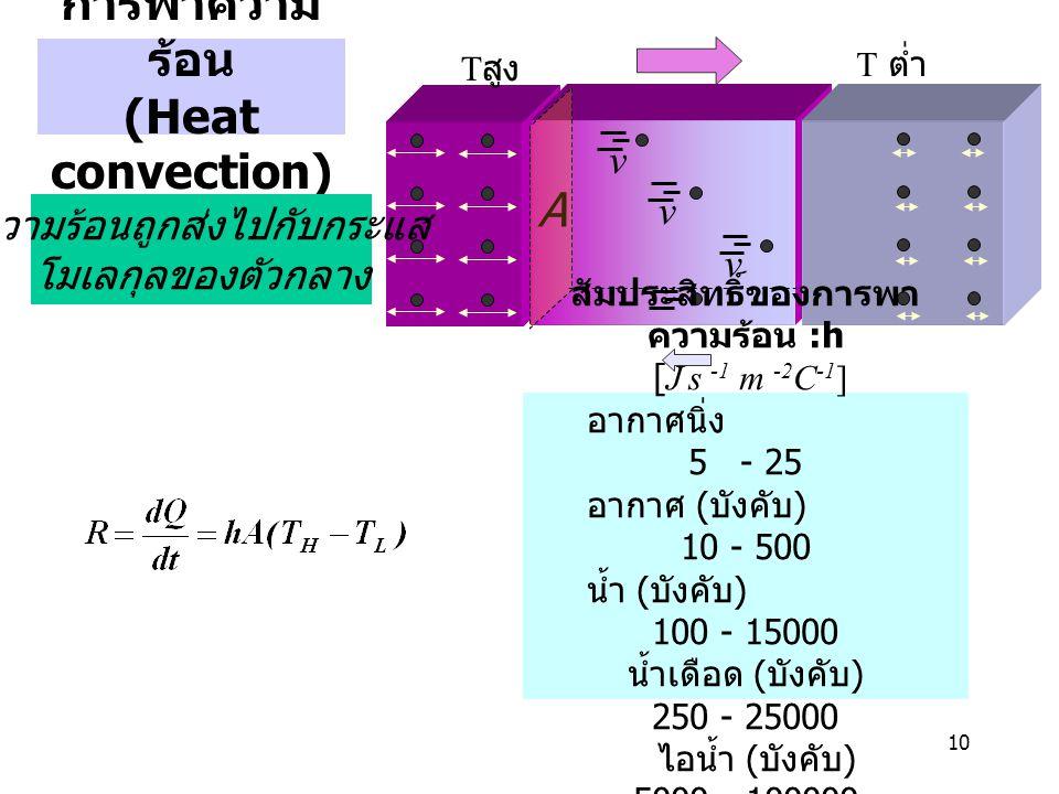 10 การพาความ ร้อน (Heat convection) T สูง T ต่ำ สัมประสิทธิ์ของการพา ความร้อน :h [J s -1 m -2 C -1 ] อากาศนิ่ง 5 - 25 อากาศ ( บังคับ ) 10 - 500 น้ำ (