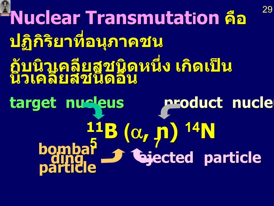Nuclear Transmutat i on คือ ปฏิกิริยาที่อนุภาคชน กับนิวเคลียสชนิดหนึ่ง เกิดเป็น นิวเคลียสชนิดอื่น target nucleus bombar ding particle product nucleus product nucleus ejected particle ejected particle 11 B ( , n) 14 N 11 B ( , n) 14 N 75 29