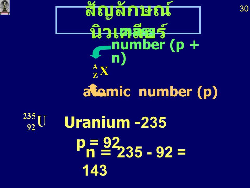 สัญลักษณ์ นิวเคลียร์ X A Z mass number (p + n) atomic number (p) n = 235 - 92 = 143 p = 92 Uranium -235 30