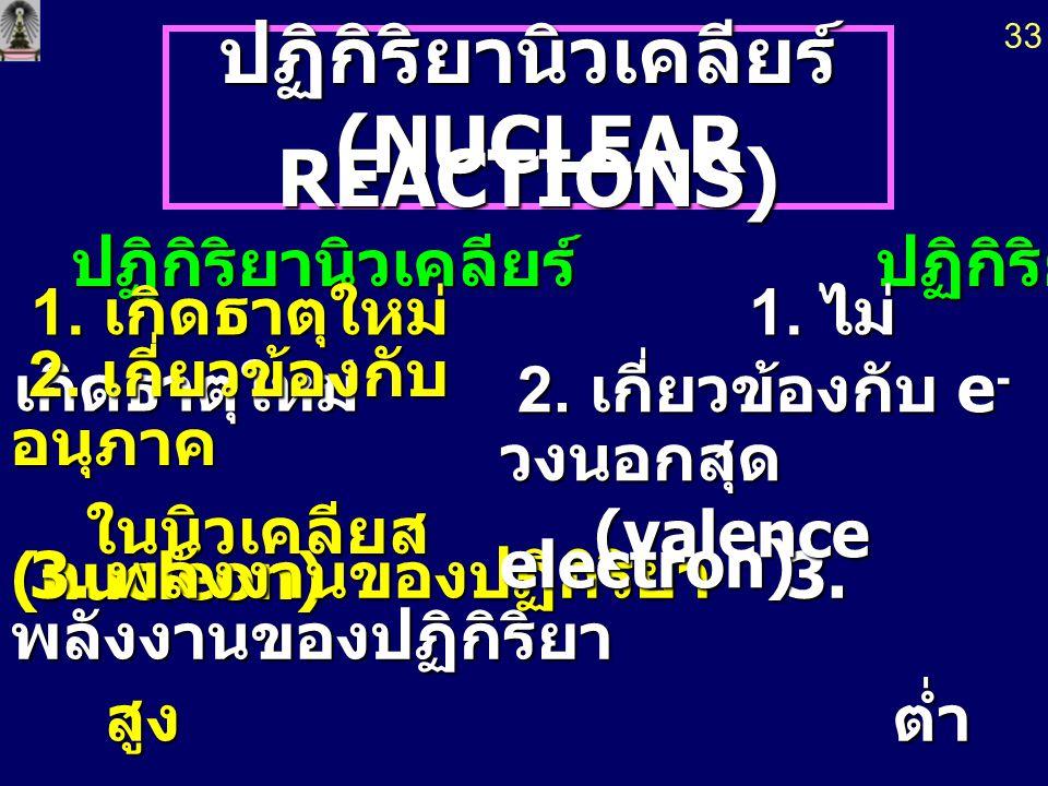 ปฏิกิริยานิวเคลียร์ (NUCLEAR REACTIONS) (NUCLEAR REACTIONS) ปฏิกิริยานิวเคลียร์ ปฏิกิริยาเคมี 1.