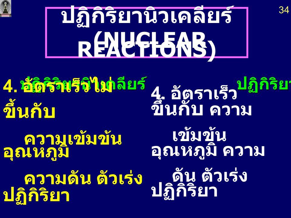 ปฏิกิริยานิวเคลียร์ (NUCLEAR REACTIONS) (NUCLEAR REACTIONS) ปฏิกิริยานิวเคลียร์ ปฏิกิริยาเคมี 1. เกิดธาตุใหม่ 1. ไม่ เกิดธาตุใหม่ 2. เกี่ยวข้องกับ อนุ