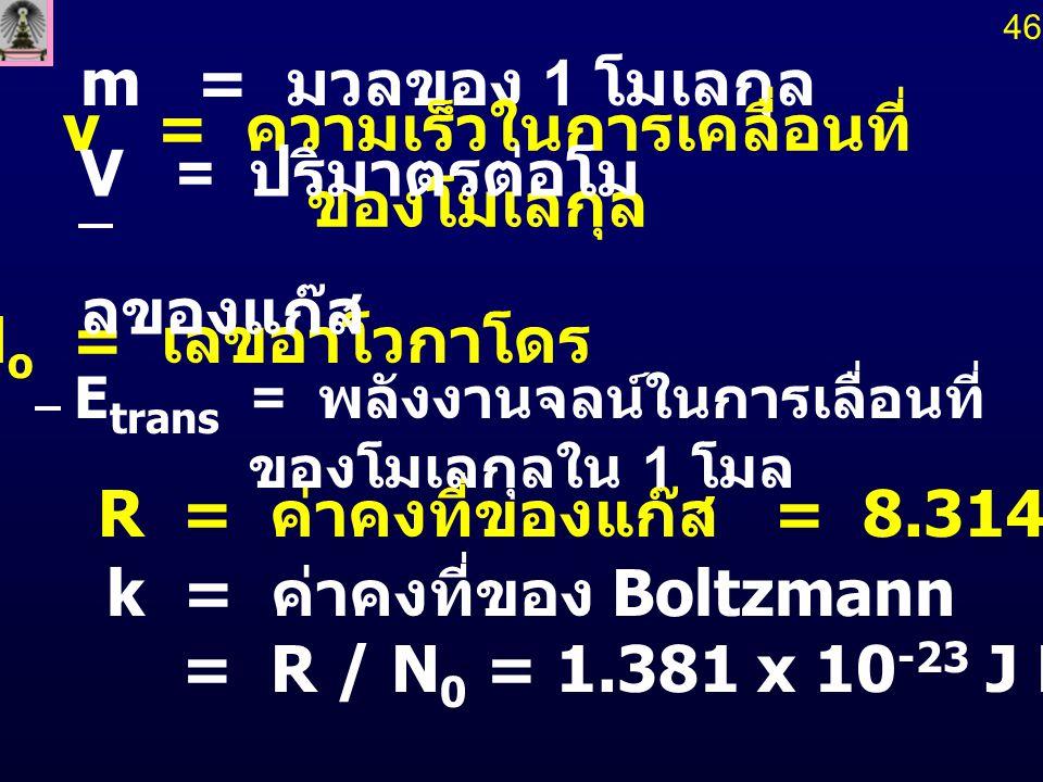 m = มวลของ 1 โมเลกุล k = ค่าคงที่ของ Boltzmann = R / N 0 = 1.381 x 10 -23 J K -1 molecule -1 R = ค่าคงที่ของแก๊ส = 8.314 J K -1 mol -1 N o = เลขอาโวกา