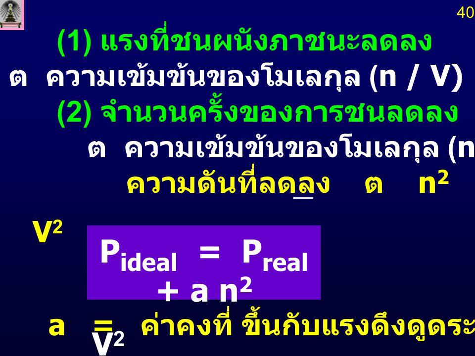 (1) แรงที่ชนผนังภาชนะลดลง (2) จำนวนครั้งของการชนลดลง ความดันที่ลดลง ต  n 2 V 2 P ideal = P real + a n 2 V 2 a = ค่าคงที่ ขึ้นกับแรงดึงดูดระหว่างโม