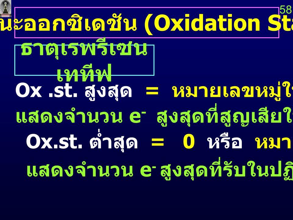 สถานะออกซิเดชัน (Oxidation State) ธาตุเรพรีเซน เททีฟ Ox.st. สูงสุด = หมายเลขหมู่ในตารางธาตุ แสดงจำนวน e - สูงสุดที่สูญเสียในปฏิกิริยาเคมี Ox.st. ต่ำสุ