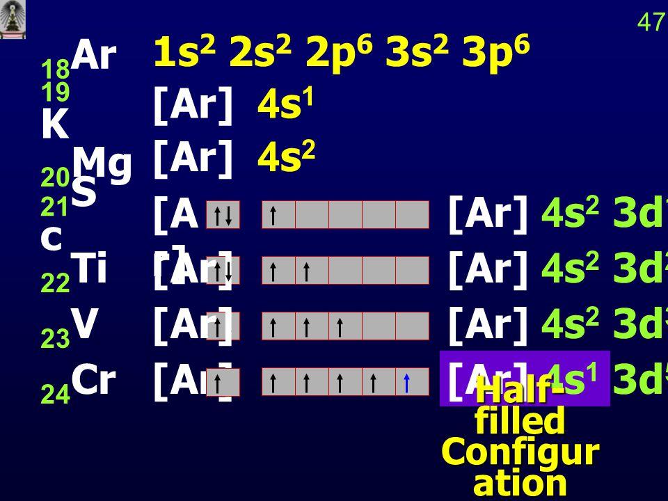 [A r] 47 18 Ar 19 K 21 S c [Ar] [Ar] 4s 1 3d 5 Half- filled Configur ation 1s 2 2s 2 2p 6 3s 2 3p 6 [Ar] 4s 1 [Ar] 4s 2 20 Mg [Ar] 4s 2 3d 1 22 Ti[Ar]